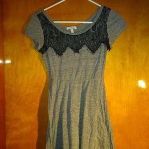 Grey Lace Top Skater Dress